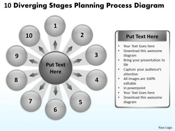 10 Diverging Stages Planning Process Diagram Ppt Circular Flow Spoke Chart PowerPoint Slides