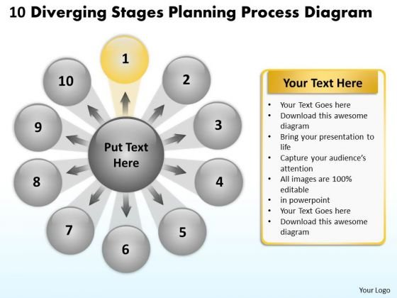 10 Diverging Stages Planning Process Diagram Radial Chart PowerPoint Templates