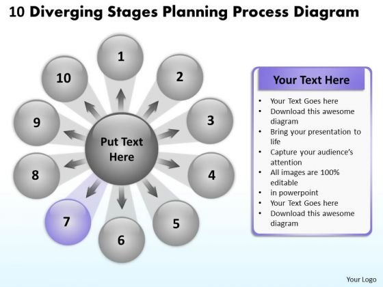 10 Diverging Stages Planning Process Diagram Radial Network PowerPoint Templates
