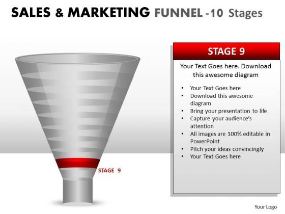 10 Stage Sales And Marketing Funnel Editable PowerPoint Graphics Slide