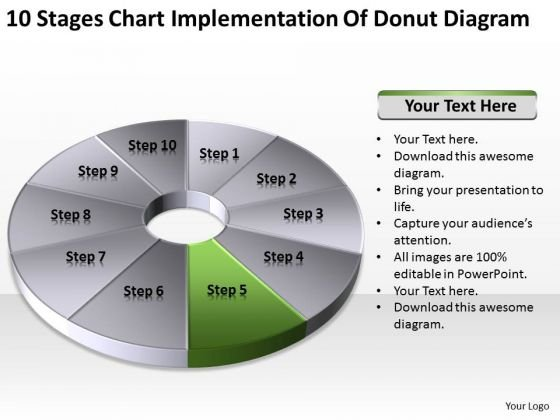 10 Stages Chart Implementation Of Donut Diagram Ppt Business Plan PowerPoint Slides