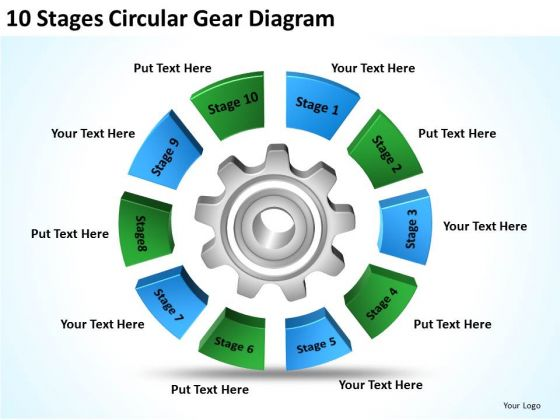 10 Stages Circular Gear Diagram Ppt Template Of Business Plan PowerPoint Slides