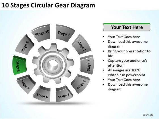 10 Stages Circular Gear Diagram Sample Business Development Plan PowerPoint Slides