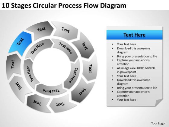 10 Stages Circular Process Flow Diagram Business Plan PowerPoint Templates