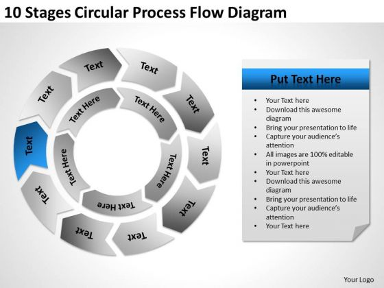 10 Stages Circular Process Flow Diagram Business Plan Template PowerPoint Templates