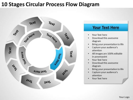 10 Stages Circular Process Flow Diagram Help With Business Plan PowerPoint Slides