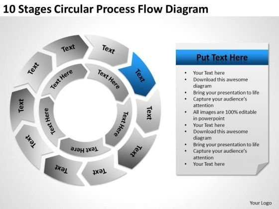 10 Stages Circular Process Flow Diagram Online Business Plan PowerPoint Templates