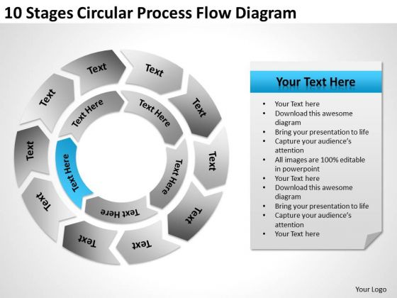 10 Stages Circular Process Flow Diagram Ppt Business Plan PowerPoint Template