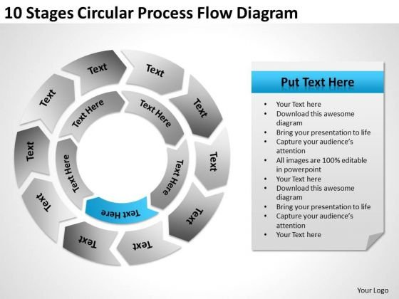 10 Stages Circular Process Flow Diagram Ppt Business Plan PowerPoint Templates