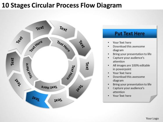 10 Stages Circular Process Flow Diagram Sample Business Plan PowerPoint Slides