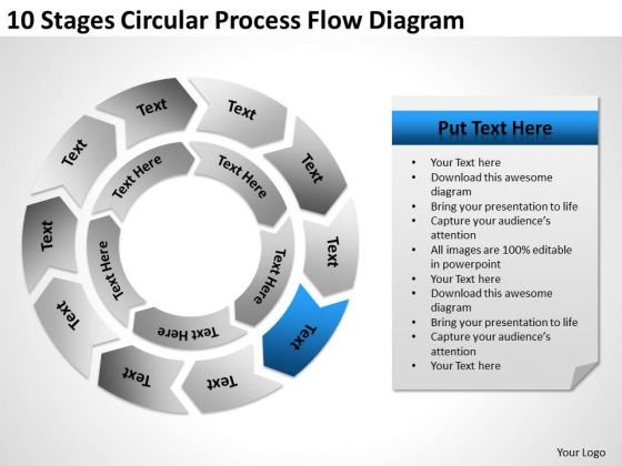 10 Stages Circular Process Flow Diagram Sample Real Estate Business Plan PowerPoint Slides