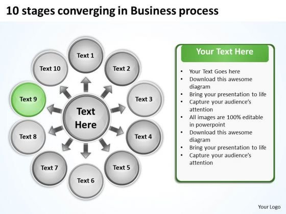 10 Stages Converging Business PowerPoint Theme Process Radial Chart Slides