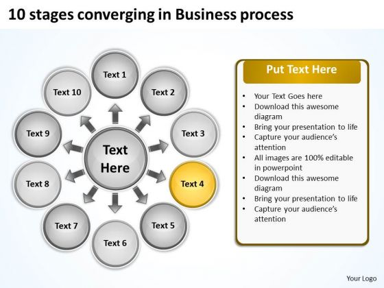 10 Stages Converging Business Process Circular Flow Diagram PowerPoint Slides