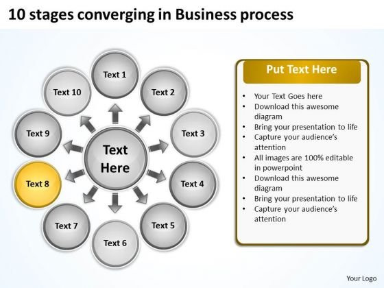 10 Stages Converging Business Process Cycle Chart PowerPoint Slides