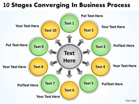 10 Stages Converging Business Process Ppt Circular Layout Network PowerPoint Templates