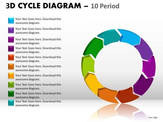 10 Stages Editable Text Cycle Diagram PowerPoint Slides