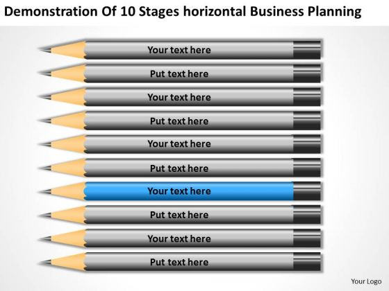 10 Stages Horizontal Business Planning Ppt Components PowerPoint Slides