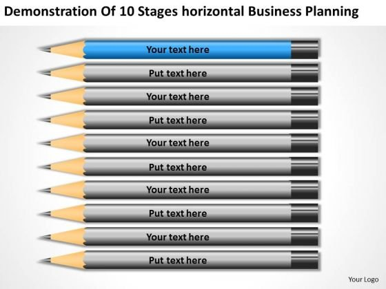 10 Stages Horizontal Business Planning Ppt Example Small PowerPoint Slides