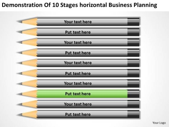 10 Stages Horizontal Business Planning Ppt Ideas PowerPoint Templates