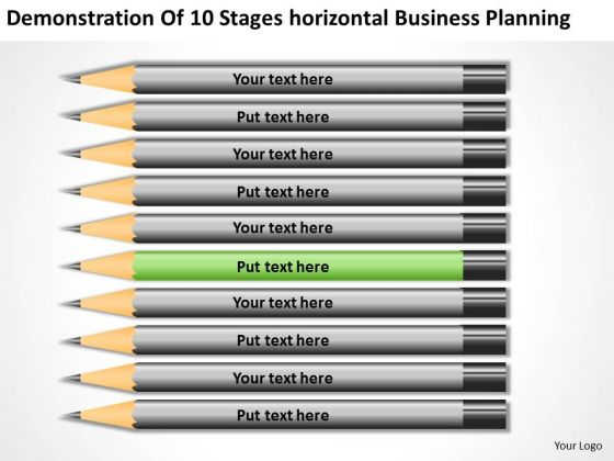 10 Stages Horizontal Business Planning Ppt PowerPoint Template