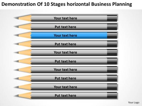 10 Stages Horizontal Business Planning Ppt PowerPoint Templates