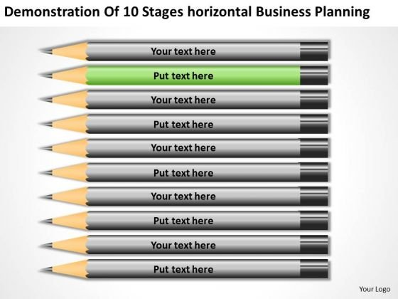 10 Stages Horizontal Business Planning Ppt Sample PowerPoint Templates