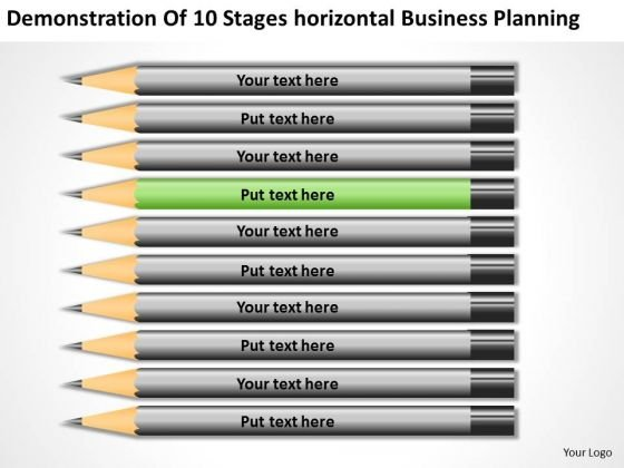 10 Stages Horizontal Business Planning Ppt Small Example PowerPoint Templates