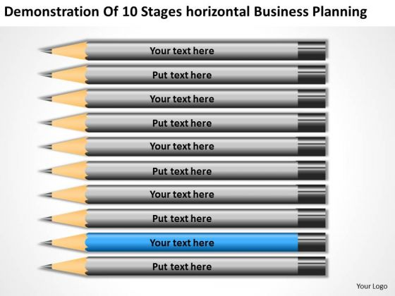 10 Stages Horizontal Business Planning Ppt Template PowerPoint Slides