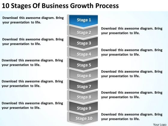 10 Stages Of Business Growth Process Ppt Plan PowerPoint Slides