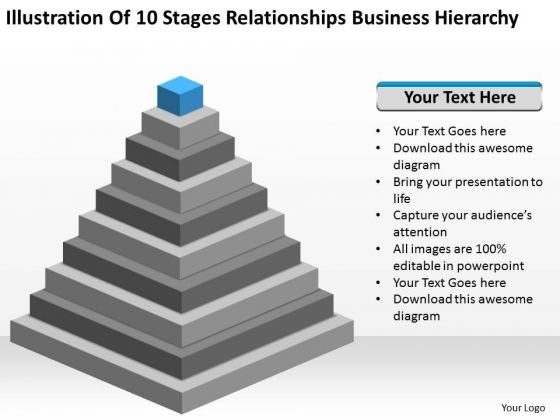 10 Stages Relationships Business Hierarchy Ppt Plan PowerPoint Slides