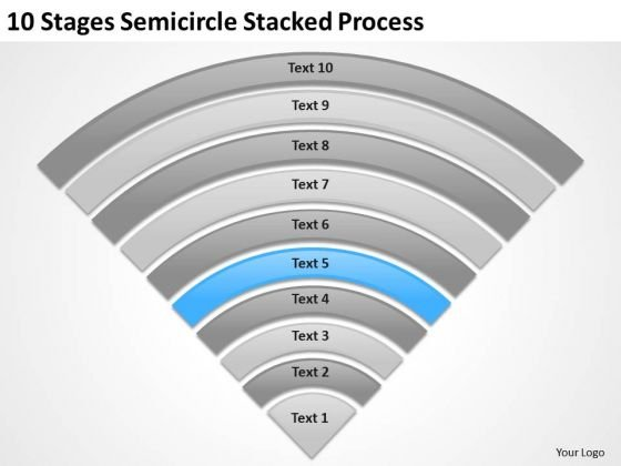 10 Stages Semicircle Stacked Process Business Plan Examples PowerPoint Templates