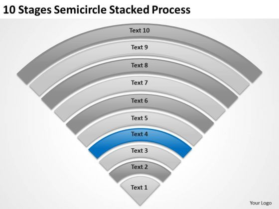 10 Stages Semicircle Stacked Process Business Plans For Dummies PowerPoint Slides