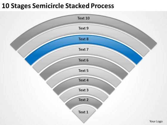 10 Stages Semicircle Stacked Process How To Type Business Plan PowerPoint Templates