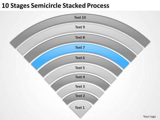10 Stages Semicircle Stacked Process Ppt Business Plan PowerPoint Slide
