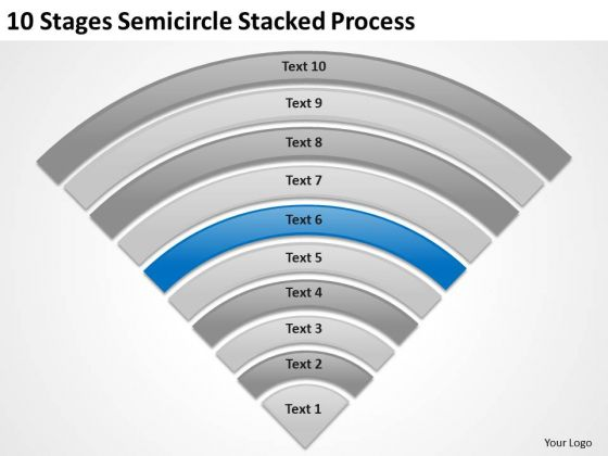 10 Stages Semicircle Stacked Process Ppt Business Plan PowerPoint Template