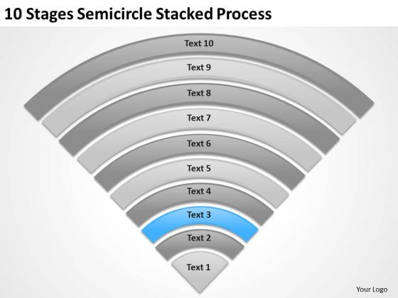 10 Stages Semicircle Stacked Process Ppt Business Plan PowerPoint Templates