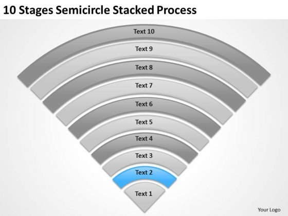 10 Stages Semicircle Stacked Process Ppt Business Plan Templates PowerPoint