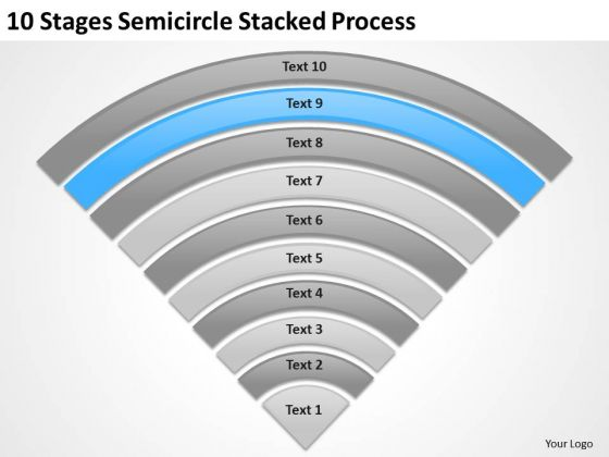 10 Stages Semicircle Stacked Process Ppt Business Plan Writer PowerPoint Templates
