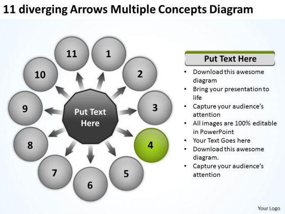 11 Diverging Arrows Multilple Concepts Diagram Chart Software PowerPoint Slides