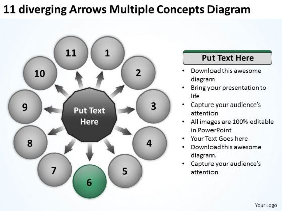 11 Diverging Arrows Multilple Concepts Diagram Circular Flow Process PowerPoint Slides