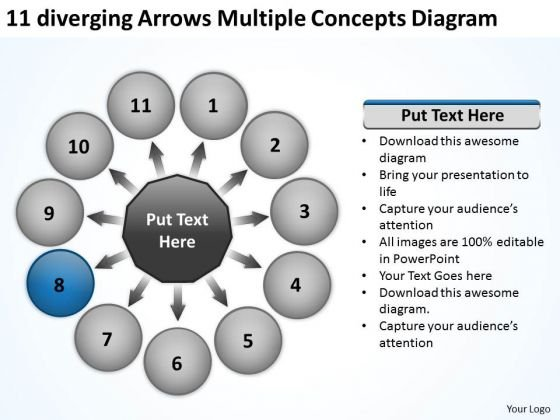 11 Diverging Arrows Multilple Concepts Diagram Circular Flow Spoke Chart PowerPoint Slides