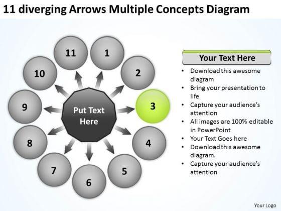 11 Diverging Arrows Multilple Concepts Diagram Circular Network PowerPoint Slides