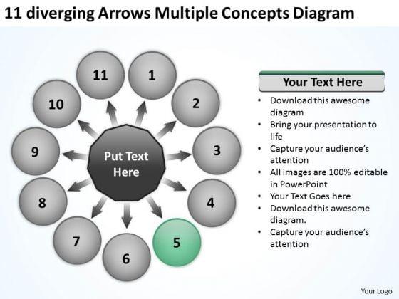 11 Diverging Arrows Multilple Concepts Diagram Circular Spoke Process PowerPoint Slides