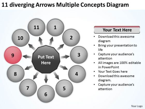 11 Diverging Arrows Multilple Concepts Diagram Cycle Motion Network PowerPoint Templates