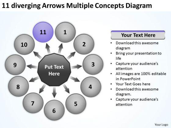 11 Diverging Arrows Multilple Concepts Diagram Cycle Motion Process PowerPoint Templates