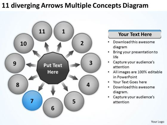 11 Diverging Arrows Multilple Concepts Diagram Gear PowerPoint Templates