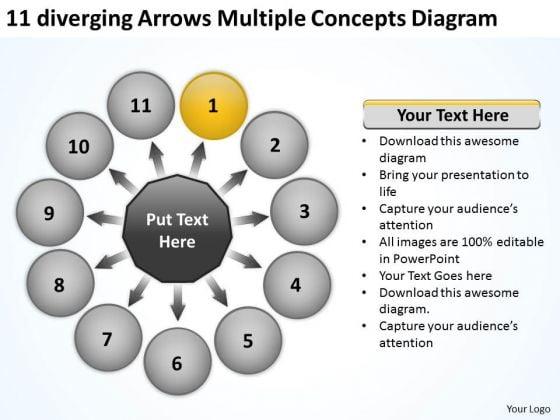 11 Diverging Arrows Multilple Concepts Diagram Pie Network PowerPoint Templates