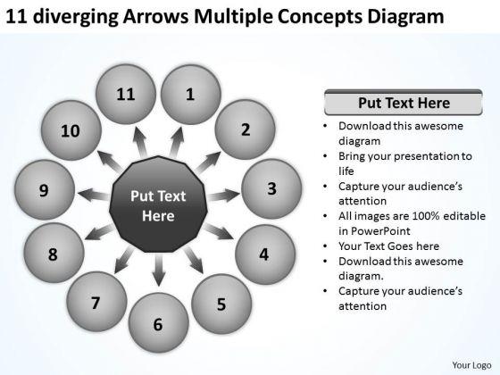 11 Diverging Arrows Multilple Concepts Diagram Ppt Circular Spoke Process PowerPoint Templates