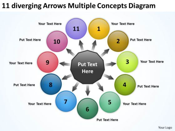 11 Diverging Arrows Multilple Concepts Diagram Ppt Cycle Flow Network PowerPoint Templates