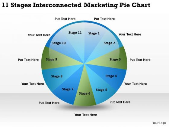 11 Stages Interconnected Marketing Pie Chart Ppt Construction Business Plan PowerPoint Slides